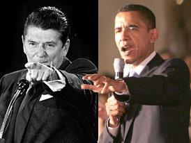 Reagan: mano chiusa, dito puntato: responsabilizzazione, individualità. Obama: mano aperta: comunità, accoglienza.