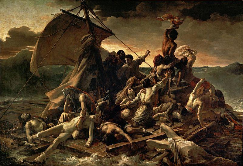 Géricault, La zattera della Medusa. Chi ha letto Oceano mare riconoscerà la situazione.